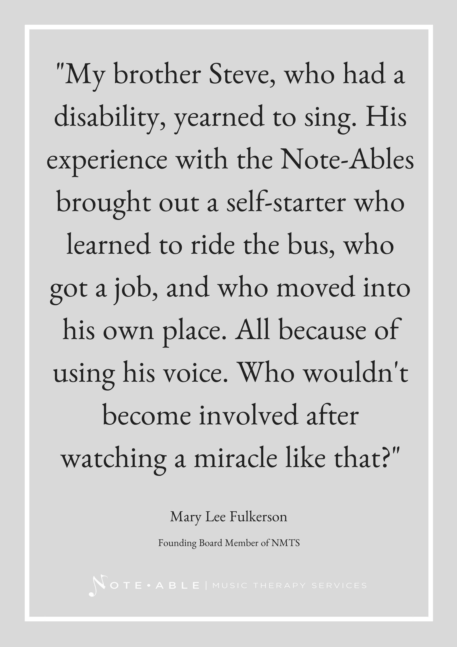 My Brother Steve Who Had A Disability Yearned To Sing His